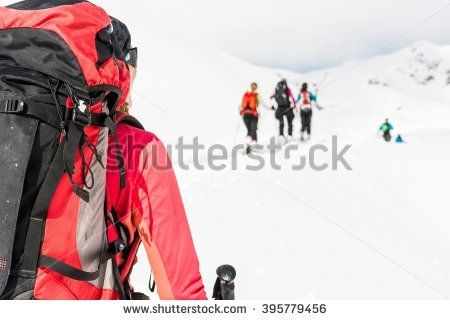 Ski tourer at a group skiers.