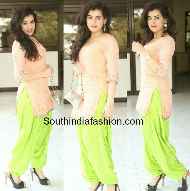 "Archana in Patiala Salwar Actress Archana (aka Veda) attended ""Anandini"" movie press meet event wearing a simple light peach color kurta teamed with light green patiala pant. Loved"