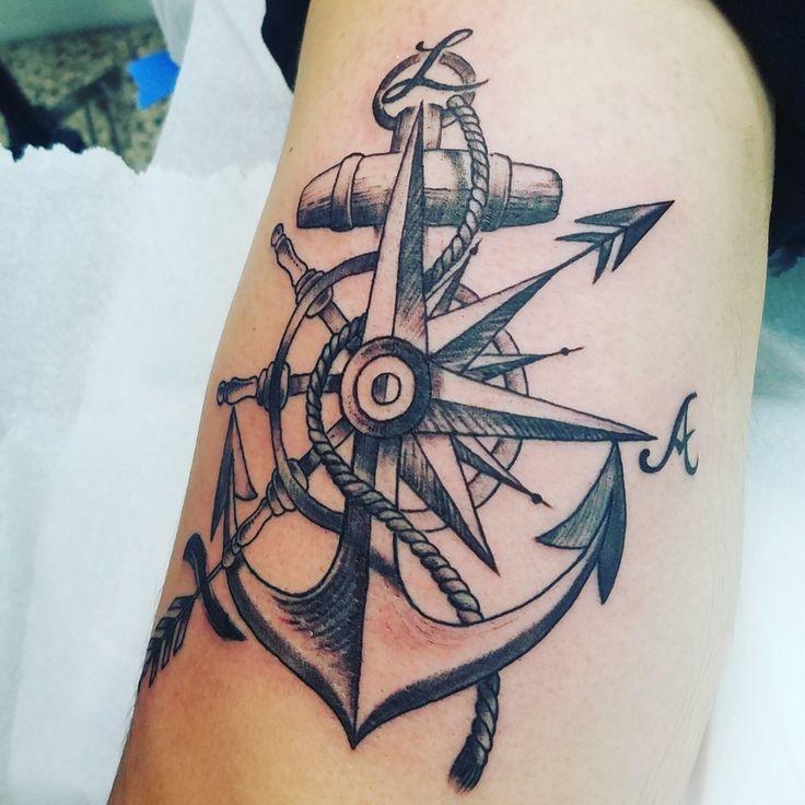 Anchor & Compass tattoo. Sagitarious Symbol.