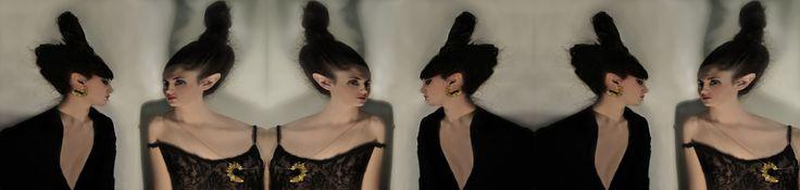 Aliki 'n' the Jaz rabbit - round NYC 18-karat yellow gold-patinated silver pendant & earrings www.alikistroumpouli.com