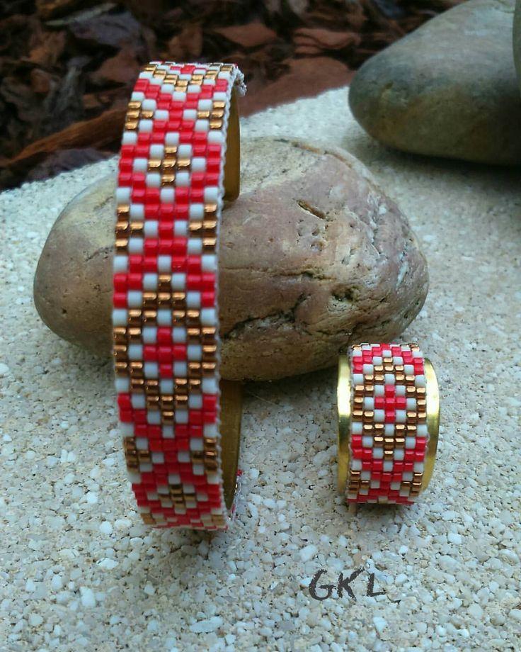 Bracelet loom sur jonc et bague #loombeading
