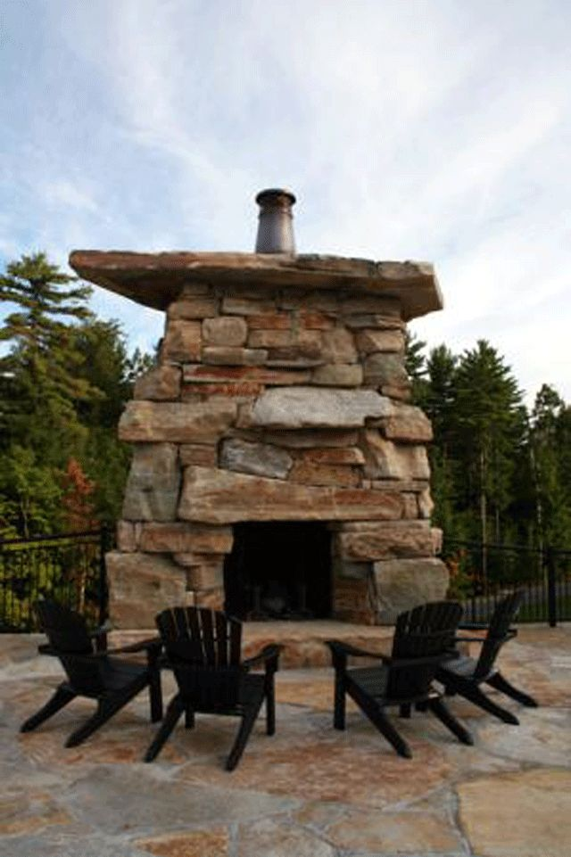 outdoor+stone+fireplace | 10 Rooms: Warm Blankets, Ghost Stories, Marshmallows and Memories...
