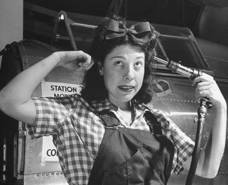 Humorous photo of a 40s factory worker.