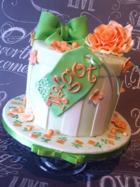 Birthday hatbox cake