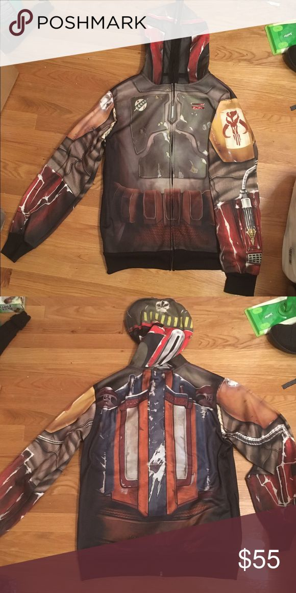 Boba fett realistic costume cosplay hoodie Super nice, I payed $65 for it at a con. Posh takes a lot so I can probably go lower on merc. Men's small but fits me as a woman's medium/large just fine! Star Wars Jackets & Coats