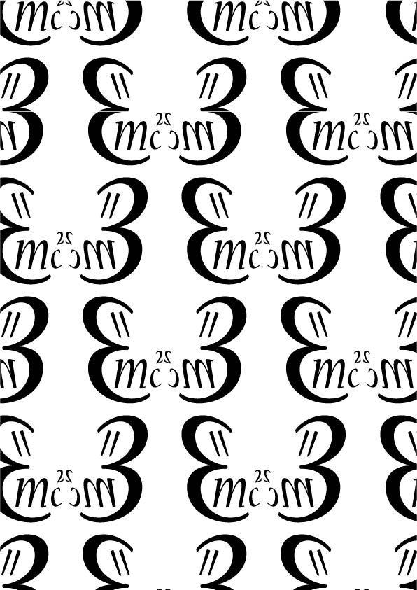 """Nueva - Carol Twombly, 1994  Pattern 3 CALLIGRAFICO- Come dice l'aggettivo, il font ha uno stile riconducibile alla scrittura a mano. Proprio per questo nel pattern ho inserito la formula della teoria della relatività ( scomposta) che solitamente scriviamo a mano sulle lavagne. Ho utilizzato i glifi """"3"""", """"m"""", """"C"""", """"="""" e il 2 all'apice"""