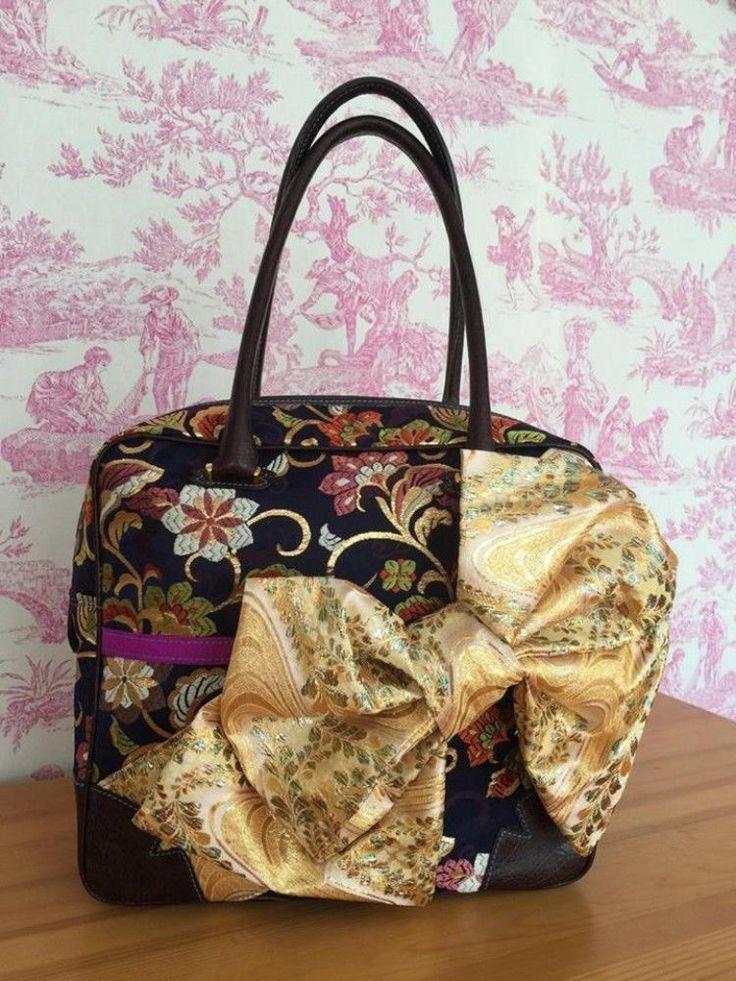 Rare Made in Japan Hina Dolls Kimono bag Handmade Handcraft Party Black Gold #ILOVEYOU