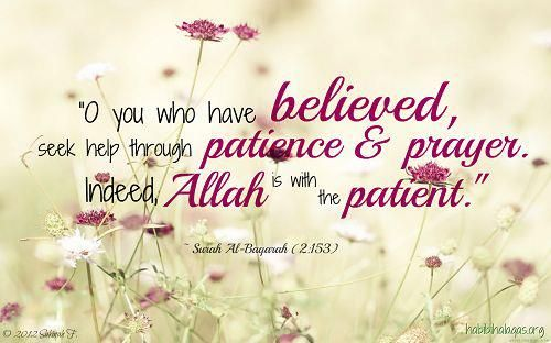 O you who have believed, seek help through patience and prayer. Indeed, Allah is with the patient. [Qur'aan Surat Al-Baqarah (2):153]