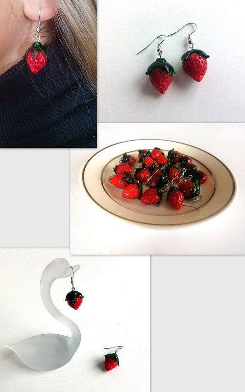 Jewelry, Lampwork  Earrings, Unique Earrings, Handmade Earrings, Spring Trends, Strawberry Earrings, Prom Jewelry, Retro, Unique Gift by GULDENTAKI on Etsy https://www.etsy.com/listing/221491734/jewelry-lampwork-earrings-unique