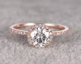 6x8mm Oval Brilliant Moissanite Engagement ring14k Rose by milegem
