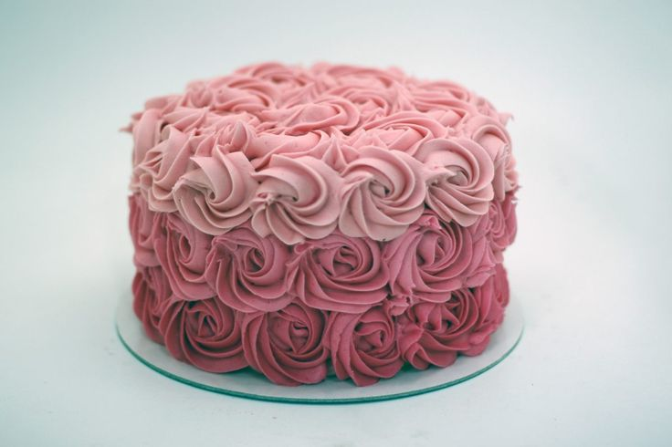 ombre pink rosettes cake