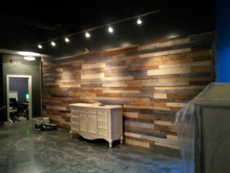 our finished wood pallet wall favorite places and spaces pinterest pallet wood walls. Black Bedroom Furniture Sets. Home Design Ideas