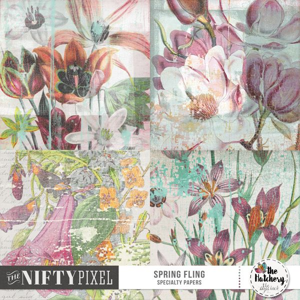 "SPRING FLING | Specialty Papers These papers are so so pretty. Each one different in design yet all have a grungy weathered look not unlike old decoupage. With peeled paint effects, water marks and stained layers these are definitely going to add a flavour of old world charm to your spring or heritage inspired projects.  DOWNLOAD INCLUDES:  4X Specialty Papers (12"" X 12"")"