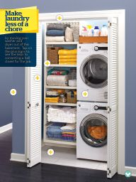 "Stackable washer/dryer in ""Clean and Compact"" in Lowe's Creative Ideas January 2014."