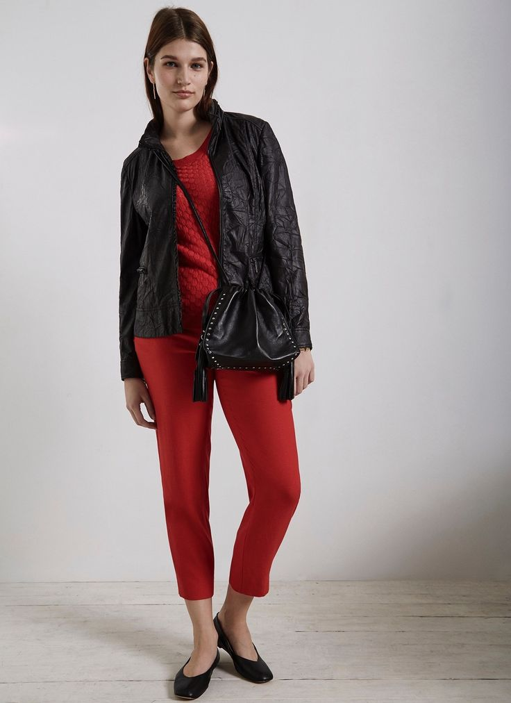 Pantalón con remate de volates - Pantalones | Adolfo Dominguez shop online