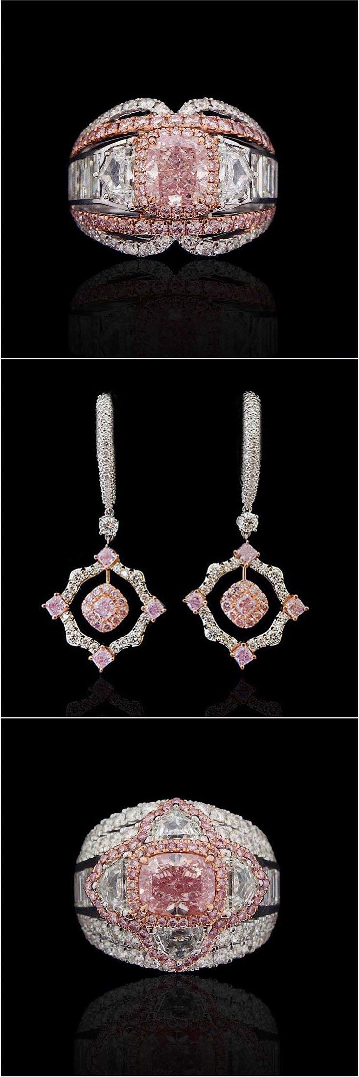 1.) 1.32 carat Fancy Intense Purple Pink diamond ring. 2.) Fancy Pink Diamond Drop Earrings 3.) A rare Fancy Intense Purple Pink diamond, over 1.50 carats in size, sits in a suitably royal setting. #novelcollectionny #naturalnovel #diamond #pinkdiamond #d