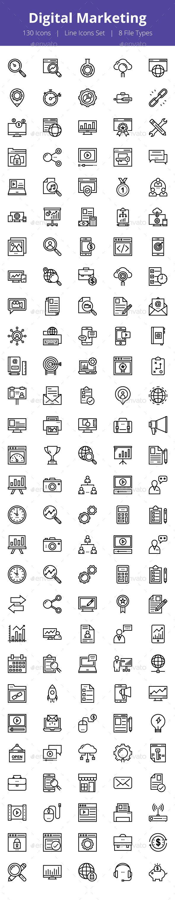 125+ Digital Marketing Line Icons
