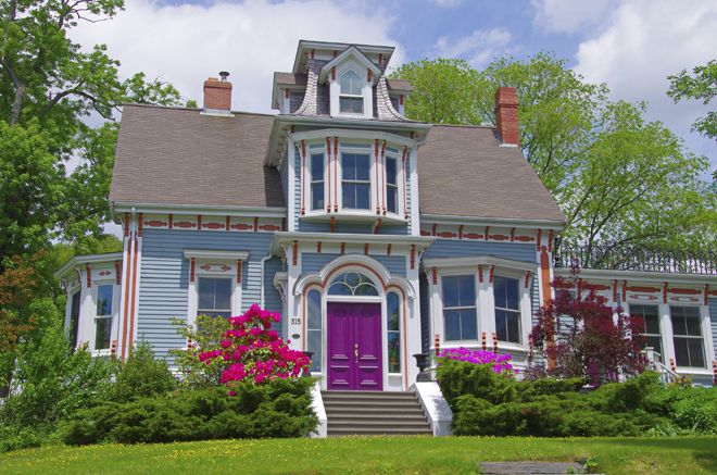 Lunenburg, Nova Scotia a UNESCO site is full of houses like this loaded with architectural details