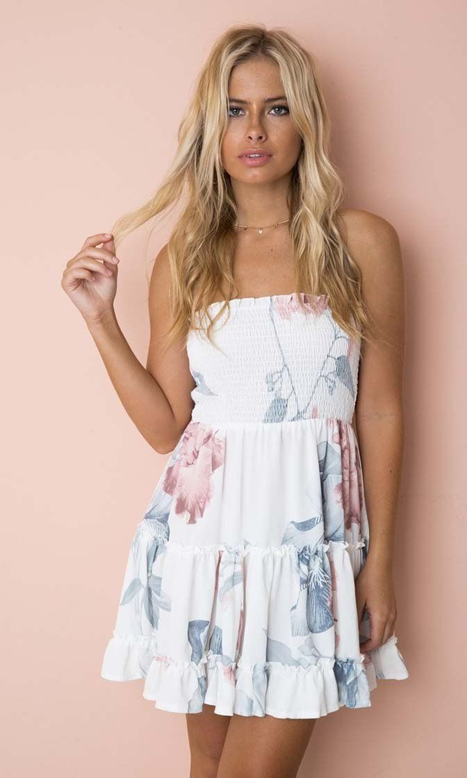 8623fdd54c5e1 Take Me With You White Floral Pattern Strapless Smocked Ruffle Empire Waist  Casual Mini Dress