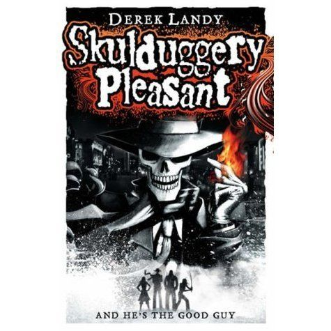 With his sunglasses gone there was no denying the fact that he had no face. All he had was a skull for a head. Meet Skulduggery Pleasant: wise-cracking detective, powerful magician, sworn enemy of evil...oh yes, and dead.  See if it is available: http://www.library.cbhs.school.nz/oliver/libraryHome.do