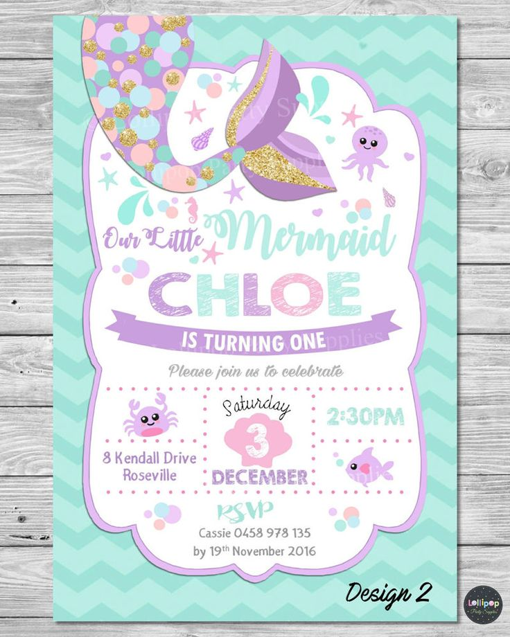 105 best mermaid party ideas images on pinterest mermaid parties little mermaid invitations invite 1st first birthday party supplies pool ocean filmwisefo Gallery