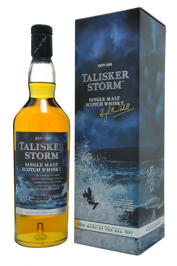 Talisker Storm Isle Of Skye Whisky - Very briny. Name compliments maritime taste. Not for novices but serious Connoisseurs.  Reminds me Ardbeg perpetuum