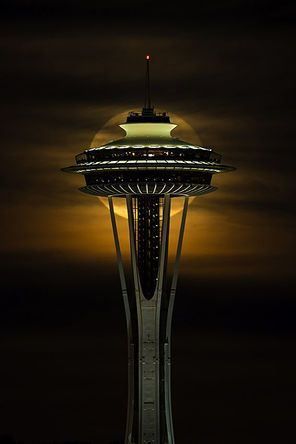 When the moon meets the Needle ~ Seattle  Photo by Hai Nguyen ~ What an amazing shot.. ♥