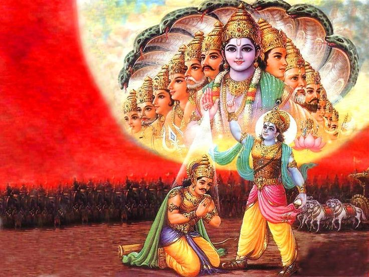 BHAGAVAD GITA {11 , 46}  किरीटिनं गदिनं चक्रहस्तमिच्छामि त्वां द्रष्टुमहं तथैव।  तेनैव रूपेण चतुर्भुजेनसहस्रबाहो भव विश्वमूर्ते॥  ONE MAY SEE GOD IN ANY FORM OF ONE'S CHOICE  I wish to see You with a crown, holding mace and discus in Your hand. Therefore, O Lord, with thousand arms and universal form, please appear in the four-armed form. (11.46)