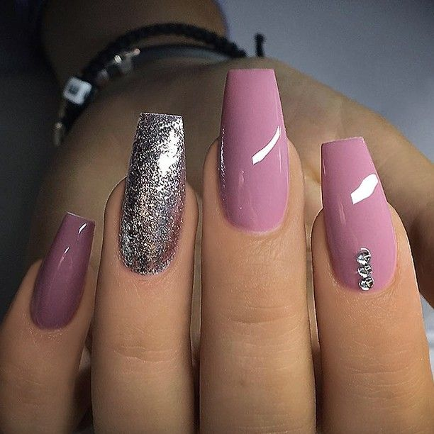 Repost Mauve Pink Silver And Crystals On Long Coffin Nails Picture And Nail Design By V Acrylic Nails Coffin Pink Mauve Nails Purple Nails