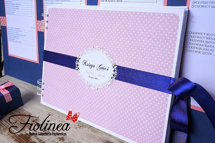 Fiolinea - Ślubna Galanteria Papiernicza: Granat, pudrowy róż i groszki