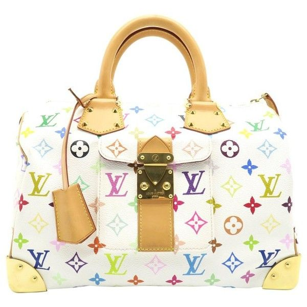 Preowned Louis Vuitton Speedy 30 White Monogram Multicolore Handbag ($990) ❤ liked on Polyvore featuring bags, handbags, top handle bags, white, colorful purses, multicolor handbags, multi color handbag, louis vuitton handbags and monogrammed purses