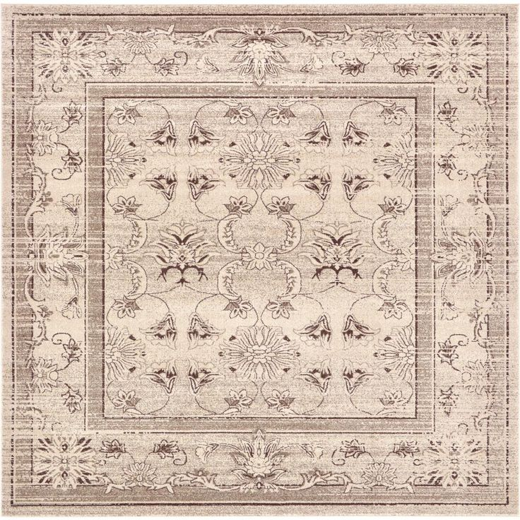 La Jolla Ivory and Light Brown 10 ft. x 10 ft. Square Rug