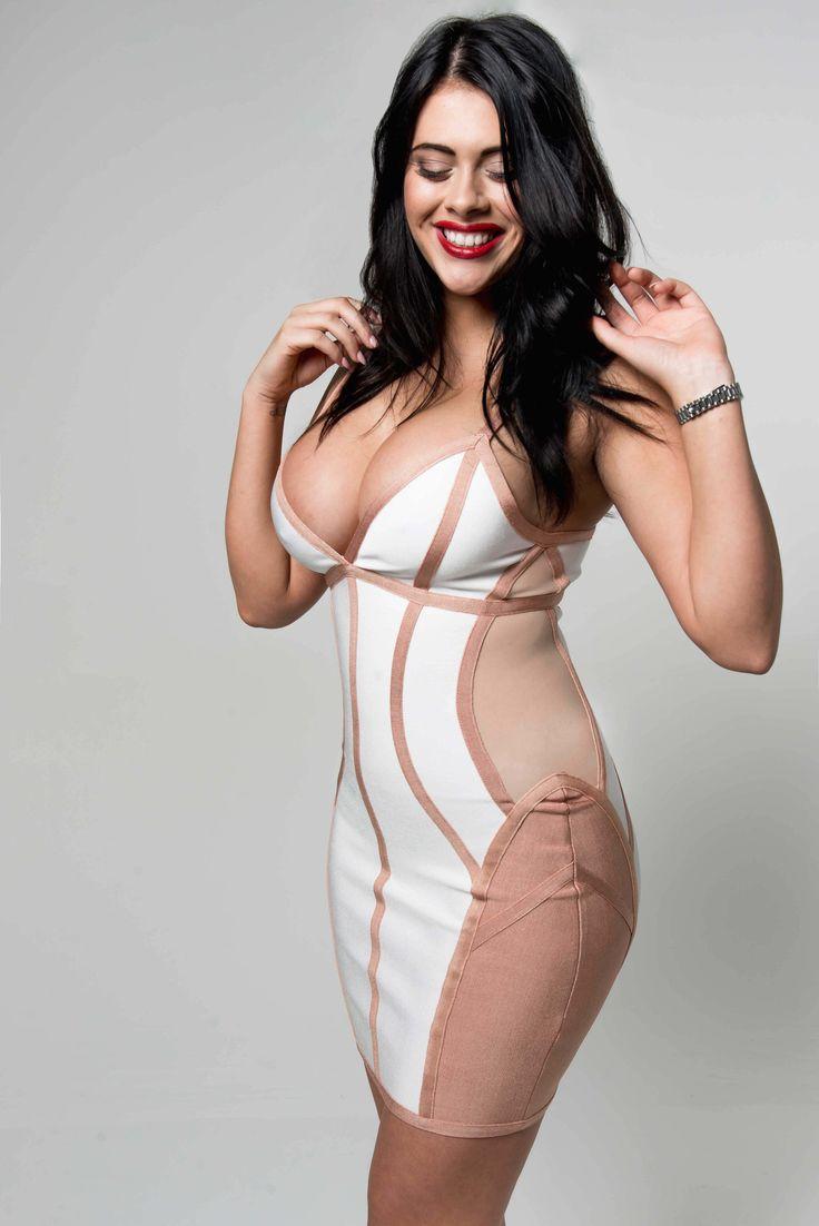 'Maci' White and Nude Illusion Bandage Dress