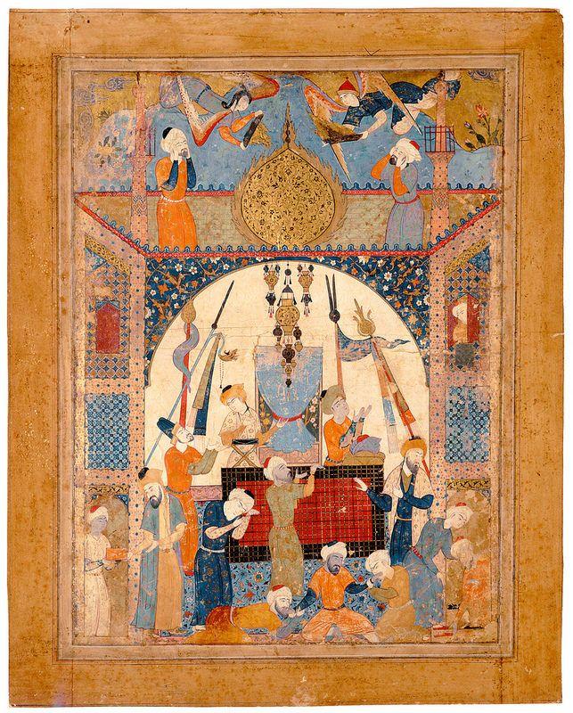 """فالنامه امام جعفر صادق (ع)، قزوین. تقریبا. 1550 میلادی این نسخه احتمالا برای شاه طهماسب ساخته شده است. به دلیل عدم وجود متن نمی شود گفت که چه صحنه به تصویر کشیده شده است، با این حال احتمال داده میشود ساختمان حرم مطهر امام حسین (ع) باشد. Miniature from a copy of Jafar al-Sadiq's Fal-nama. """"Scene From a Mausoleum"""" Iran, Qasvin; c. 1550 Leaf: 59 × 46 cm"""