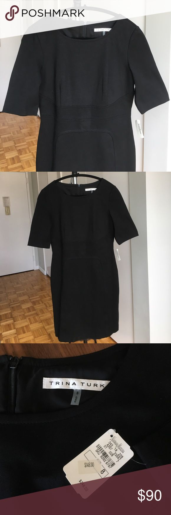 NWT- Black Trina Turk Dress, SZ 8 I bought  this dress at Neiman Marcus and never got into it. Bummer, because the details at the waist and the horseshoe pattern are super flattering. Great for work or dress up for a nice event. Snug enough to flatter, but comfy. Zips up the back. It retailed for $248 & I paid $148.                                                                               •Fully lined                                                                              •69%…