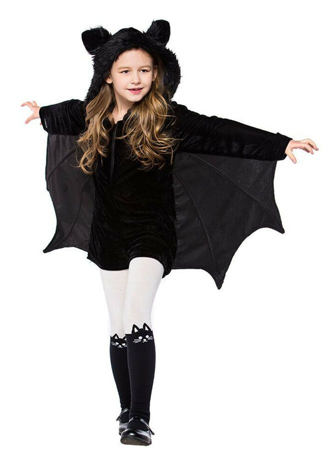 Kids Adults Halloween Bat Costume Fancy Dress Boys Girls Outfit Vampire Jumpsuit