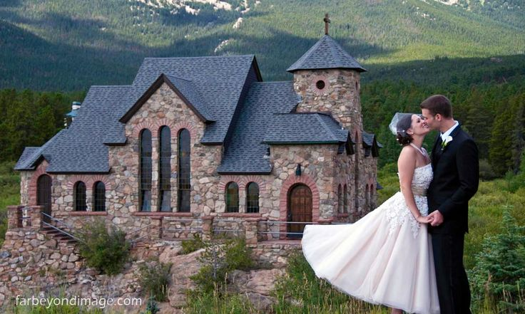 Oh my goodness, I'm in love with the idea of having a wedding in Estes Park, CO! Gorgeous Catholic church in the background! <3