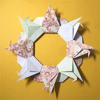 折り紙で正月リースの作り方!正月飾りに鶴のリースを簡単手作り | セツの折り紙処