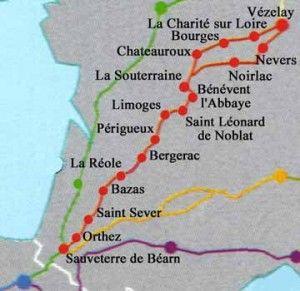 La via Lemovicensis ou voie limousine est l'un des quatre chemins du pèlerinage de Saint-Jacques-de-Compostelle, elle passe par Limoges, d'où son nom et fait 884 km via Bourges et 923 km via Nevers. Vézelay, Bénévent, Saint-Léonard-de-Noblat, Limoges, La Coquille, Sorges, Périgueux, Cadouin, Bergerac, Eymet, La Réole, Bazas, Roquefort-des-Landes, Mont-de-Marsan, Orthez, Saint-Palais, Ostabat et enfin St-Jean-Pied-de-Port.