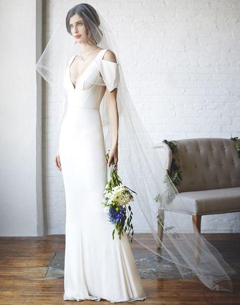 Modern Structured Wedding Dress With Architectural Details