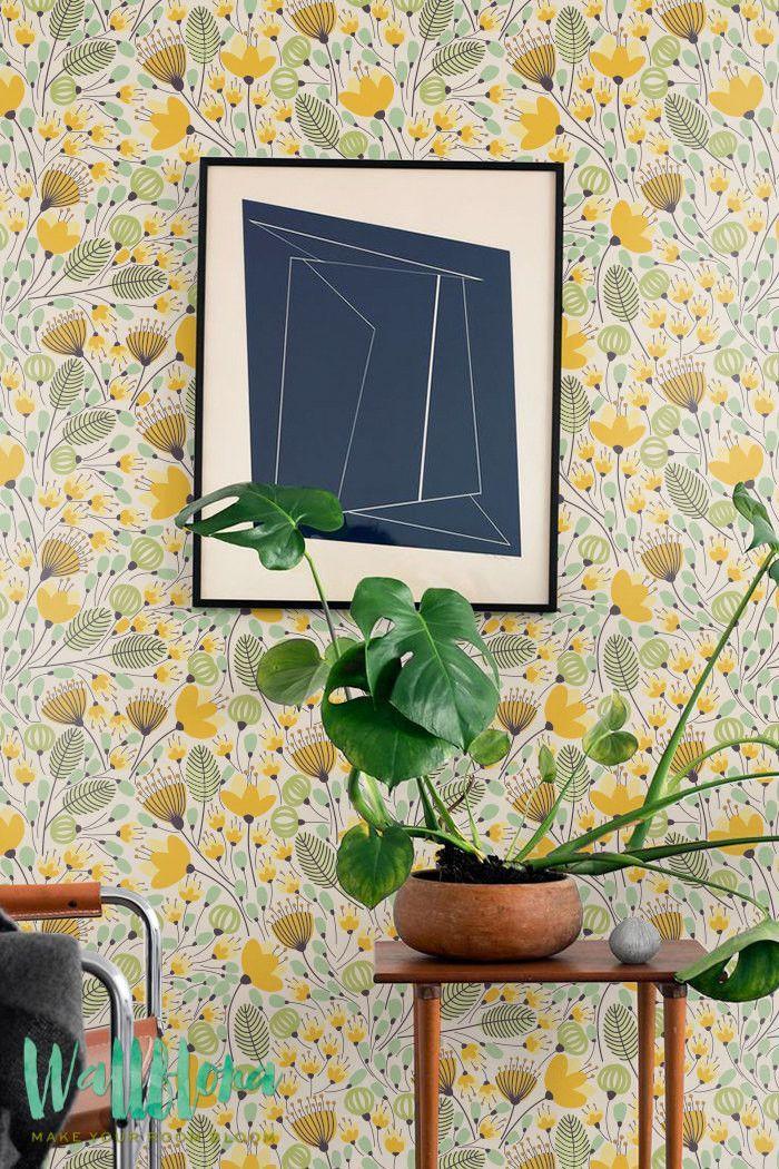 Seamles Yellow Flower Pattern Wallpaper - Removable Wallpaper - Wall Sticker…