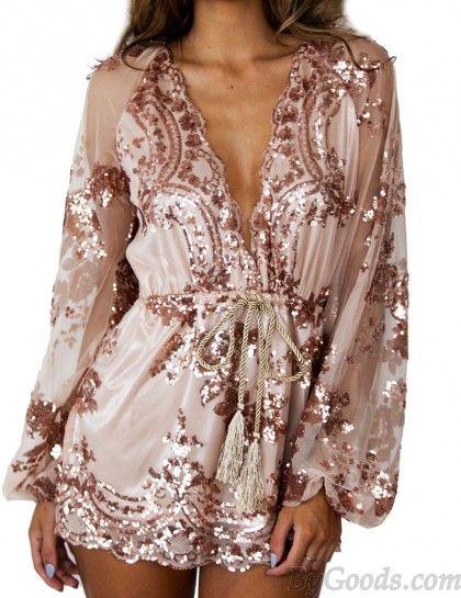 555b0f0a60a8 Sexy Glitter Sequin Flower Rose Gold V Neck Long Sleeve Short Dress ...