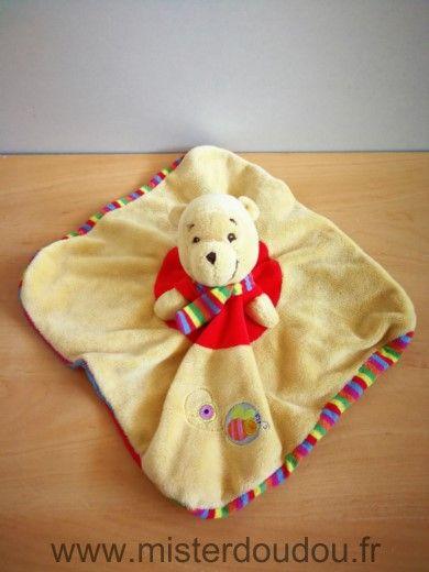 Doudou Ours Disney Winnie jaune rouge raye Tissus bouloche