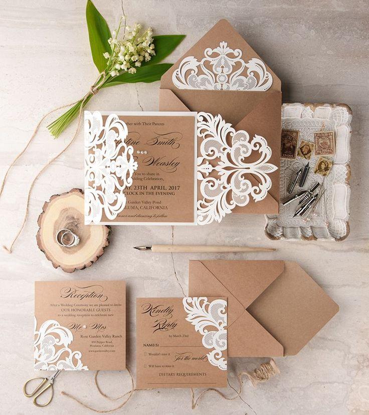 Rustic lasercut wedding invites from 4 Love