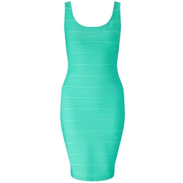 Miss Selfridge Bandage Bodycon Dress ($14) ❤ liked on Polyvore featuring dresses, mint green, green bandage dress, body con dress, bodycon cocktail dress, mint bodycon dress and bodycon dress
