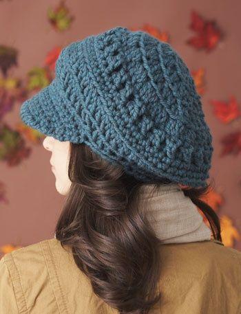 Bernat: Pattern Detail - Softee Chunky - Slouchy Peaked Hat (crochet).
