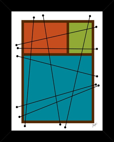 #1 Complex Decision framed art print modern mid century eames era abstract style