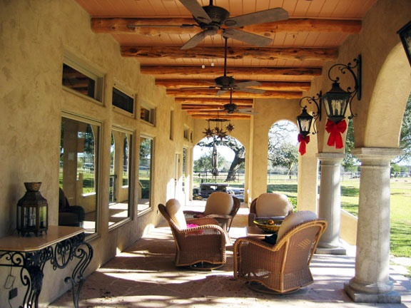 Porch of home in rural Texas designed using the Truehome approach...