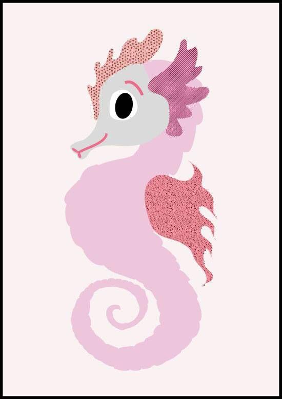Sparkling paper poster seahorse  De onschuld spat van het papier! Het lieve snoetje van dit kleurrijke zeepaardje is om te zoenen.