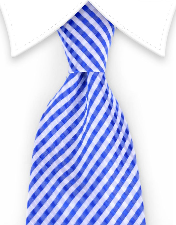 Blue & White Extra Long Tie - 3XL
